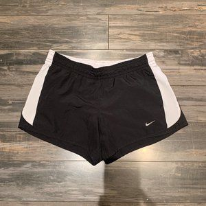 Nike Black with White Stripe Lined Running Shorts